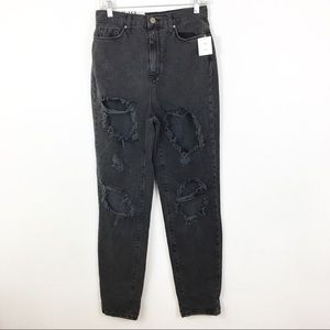 NWT BDG Mom High Rise Destroyed Black Jeans 27
